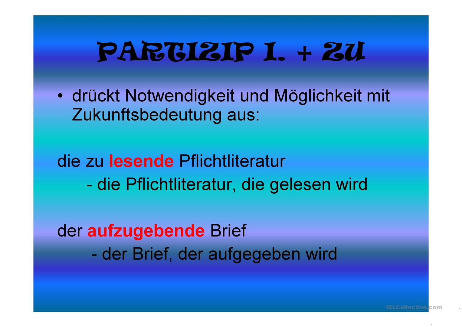 Das Partizip Arbeitsblatt - Free ESL projectable worksheets made by ...