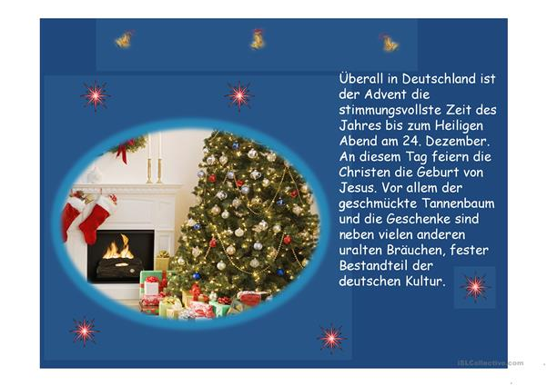 weihnachten in deutschland arbeitsblatt free esl. Black Bedroom Furniture Sets. Home Design Ideas
