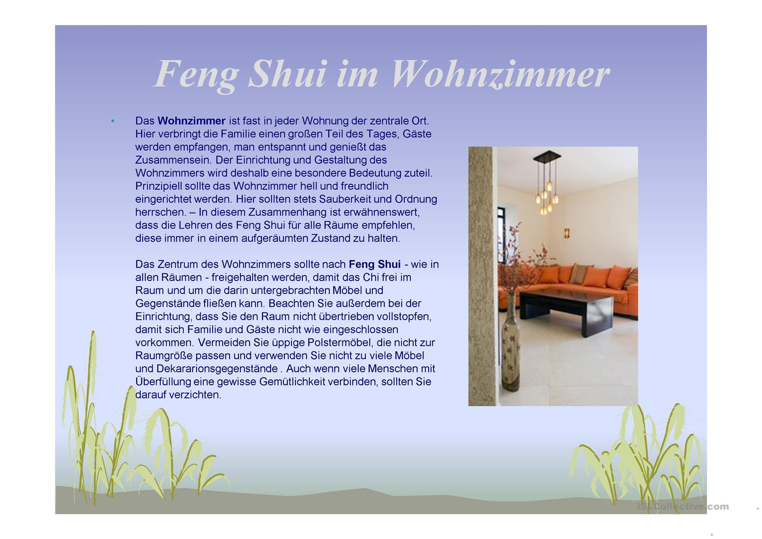 feng shui in der wohnung arbeitsblatt free esl. Black Bedroom Furniture Sets. Home Design Ideas
