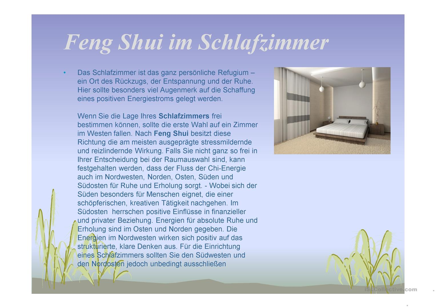 feng shui in der wohnung arbeitsblatt free esl projectable worksheets made by teachers