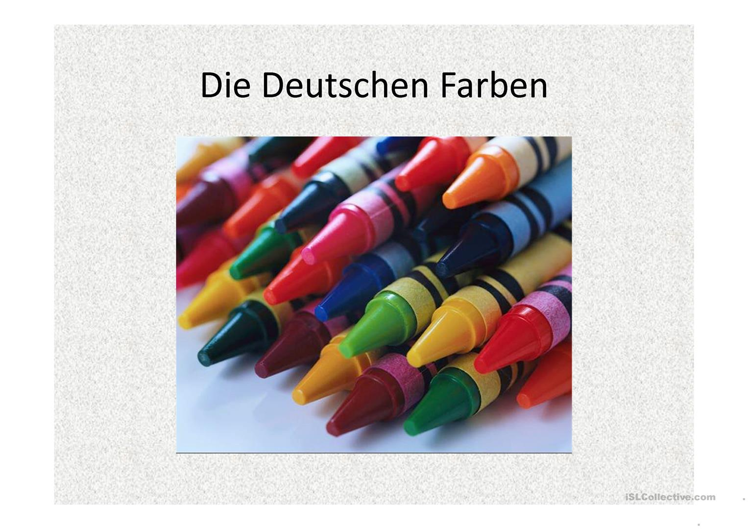 Die Farben Arbeitsblatt - Free ESL projectable worksheets made by teachers