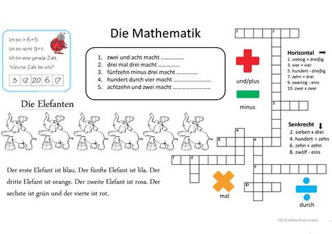 Die Mathematik Arbeitsblatt - Free ESL projectable worksheets made ...