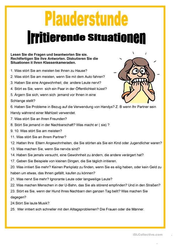 Plauderstunde - Irritante Situationen